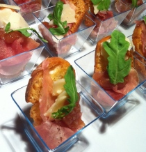 Prosciutto Pizzettes at a party I catered.